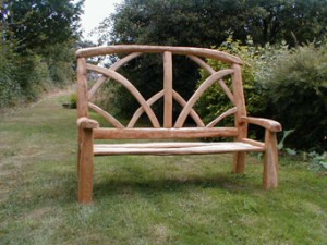 Pair of ornamental chestnut benches