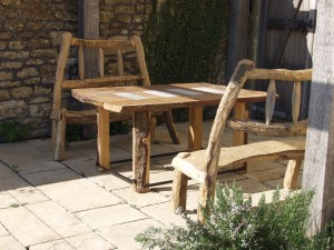 Pair of chestnut patio benches
