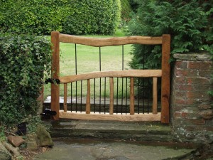 Chestnut and steel garden gate
