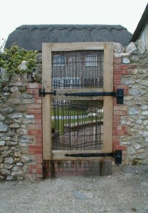 Oak and copper pedestrian door
