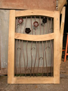 Oak and steel garden gate