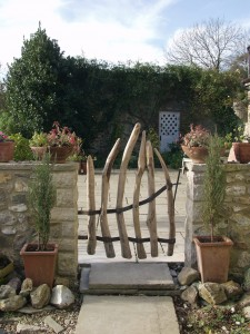 Chestnut and steel gate