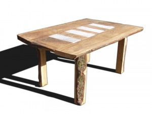 Chestnut, limestone and steel table
