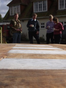 Chestnut, limestone and steel table