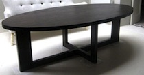 Dark oak oval dining table