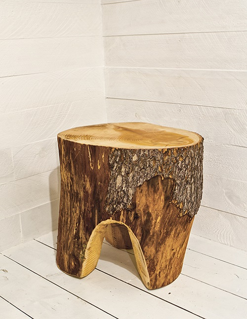 Cedar trunk stool