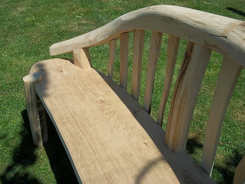 Chaise longue chestnut and oak garden bench seat