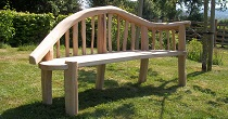 Oak chaise longue bench