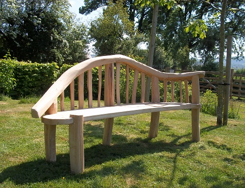 Chaise longue chestnut and oak garden bench