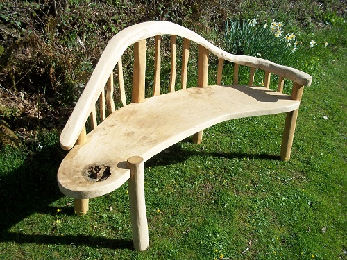 Chaise lounge bench oak and chestnut seat