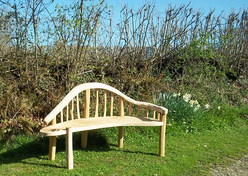 Chaise lounge bench oak and chestnut