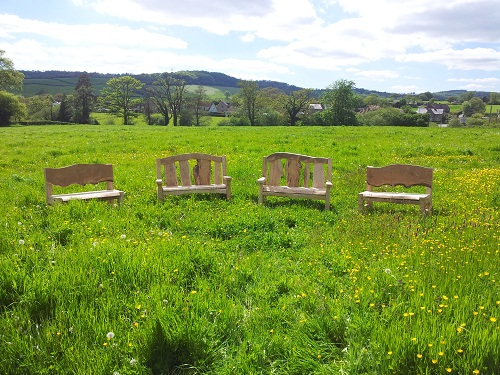 Chestnut and oak benches four