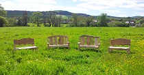 Chestnut and oak benches
