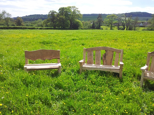 Chestnut and oak benches two l