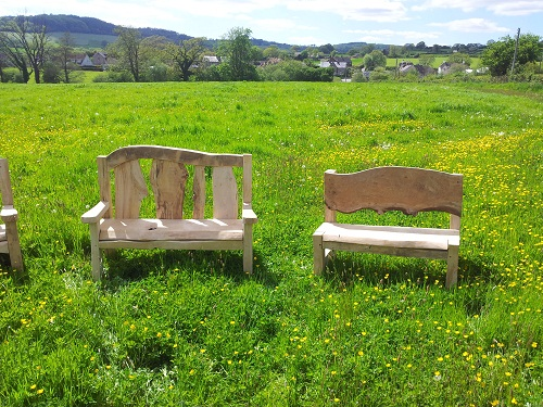 Chestnut and oak benches two