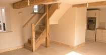 Chestnut staircase & beam