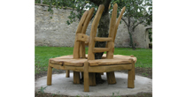 Circular wooden tree bench