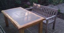 Oak and slate garden table