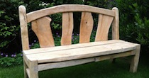 Chestnut oak slatted bench