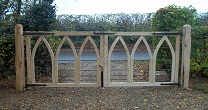 oak iron gothic arch gates
