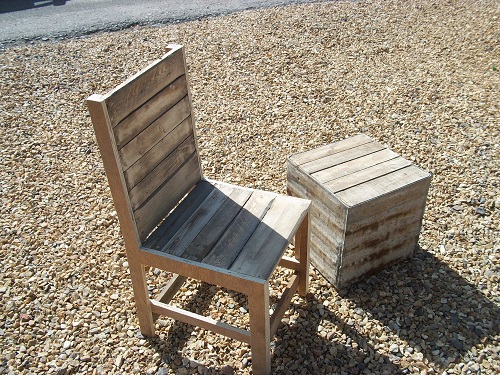 Pallet chair and galvanised block