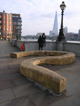 Pauls Walk exercise bench with Shard background