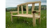 Slatted back chestnut bench
