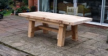 Solid oak garden table