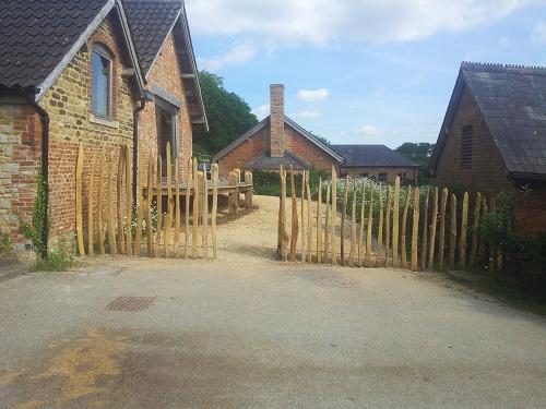 Split chestnut fencing open gate
