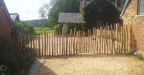 Split chestnut fencing and gate
