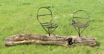 Weathered oak & steel bench