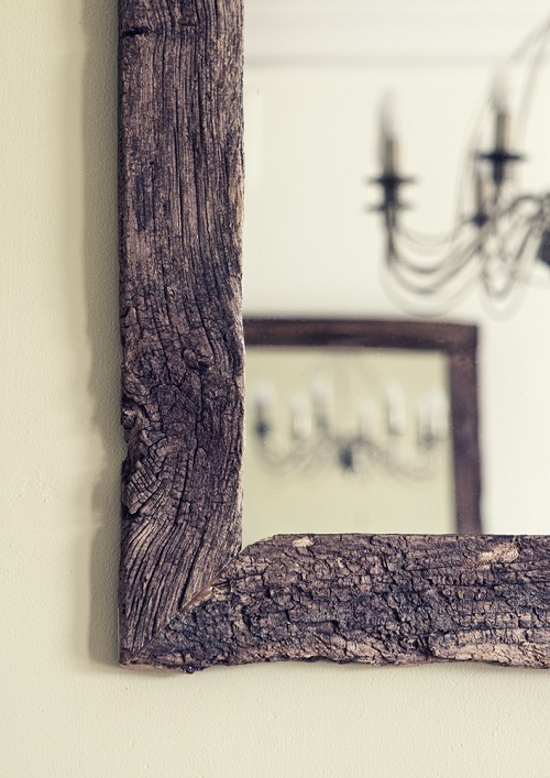 Weathered oak picture mirror frame detail
