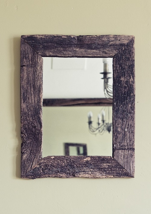 Weathered oak picture mirror frame