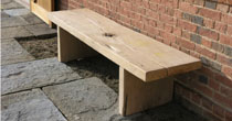 Simple wooden oak benches