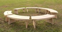 Circular wooden oak benches