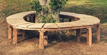 wooden oak circular tree bench