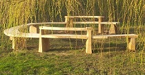 oak and chestnut circular bench