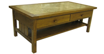 Oak & marble coffee table