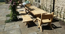 Waney edge oak table and chairs